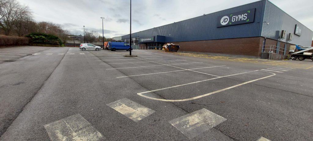 Car Park Markings Before JD Gym Rotherham